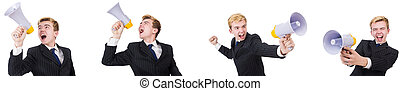 Young man with loudspeaker on white