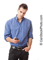 Young man with mobile phone.