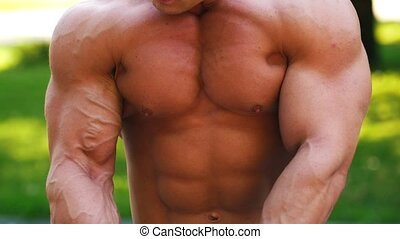 Young man with muscular torso warming up in the park