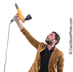 Young man with powder spray