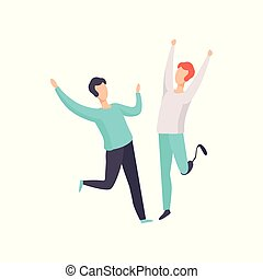 Young man with prosthetic leg having fun with his male friend, disabled person enjoying full life vector Illustration on a white background