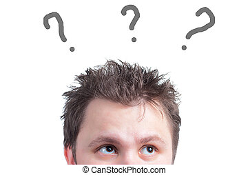 Young man with question mark isolated