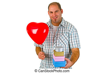 Young man with red ballon and gift box