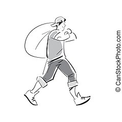 Young man with rubbish bag vector icon