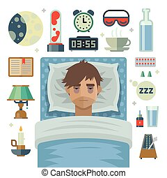 Young man with sleep problem insomnia and items.