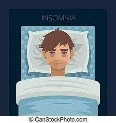 Young man with sleep problem insomnia.