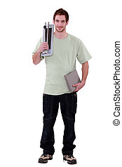 young man with small hand truck
