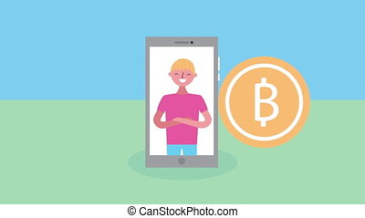young man with smartphone and coin character