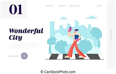 Young Man with Smartphone and Documents Folder in Hands Walking along Crosswalk in Big Busy City, Dweller Lifestyle, Traffic Website Landing Page, Web Page. Cartoon Flat Vector Illustration, Banner