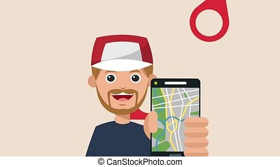 Young man with smartphone taxi app HD animation