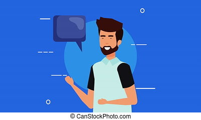 young man with speech bubble animation - young man with...