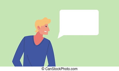young man with speech bubble celebrating animation character
