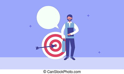 young man with success target character