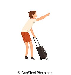 Young Man with Suitcase Hailing Taxi Car Vector Illustration