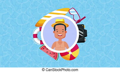 young man with summer time accessories animation ,4k video