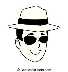 Young man with sunglasses and hat face cartoon in black and white