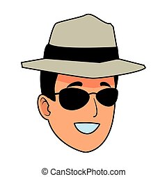 Young man with sunglasses and hat face cartoon