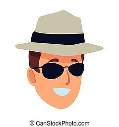 Young man with sunglasses and hat face cartoon vector illustration