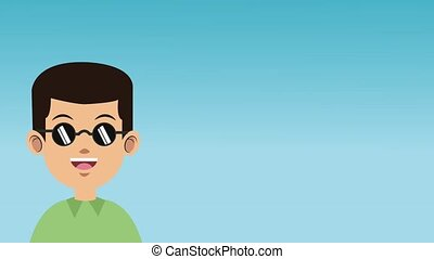 Young man with sunglasses HD animation