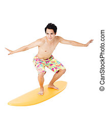 Young man with surfboard isolated on white