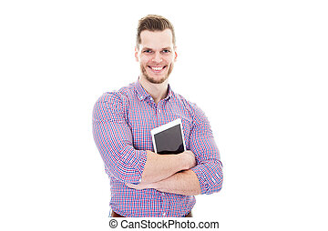 young man with tablet pc looking at camera isolated on white background
