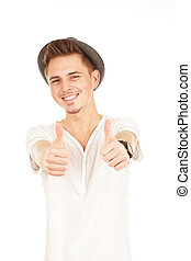 young man with thumbs up isolated on a white background