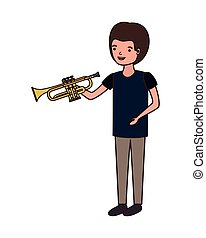 young man with trumpet character