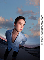 Young Man with Unbuttoned Shirt - Young Caucasian man with ...