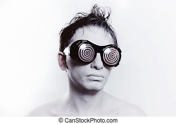young man with white skin in strange glasses