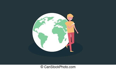 young man with world planet avatar character