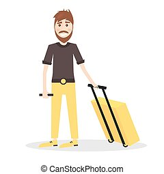 Young Man with Yellow Suitcase Isolated on White Background.