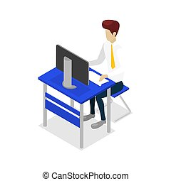 Young man work on desktop computer icon