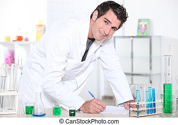 Young man working in a laboratory.