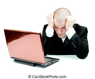 young man working in office on laptop