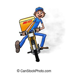 Young man working the fast delivery. Riding on yellow motorbike for carries rush order. Fast delivery concept. Front view cartoon style. Vector illustration