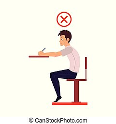 Young man writing in incorrect sitting position