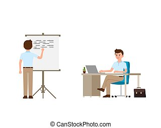 Young man writing on whiteboard, sitting at the office desk cartoon character