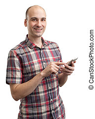 Young man writing text message on smart phone