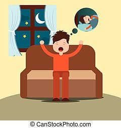 young man yawning thinking sleep sitting on sofa