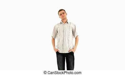 Young Man - Young man is standing on white background then...