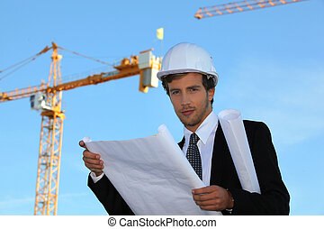 young manager in construction site