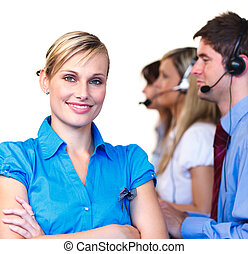 Young manager in front of her team - Young businesswoman in...