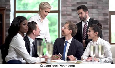 Young Managers in a Large Company Successfully Completed Business Negotiations.