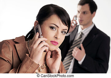 Young managers with mobile phone