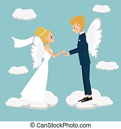 young married couple fly in heaven vector cartoon