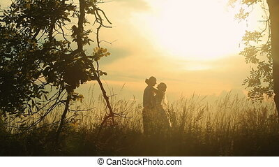 Young married couple softly hugging on the background of a sunset in the field