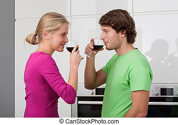 Young married drinking wine