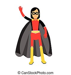 Young masked brunette woman in a superhero costume waving her hand vector Illustration