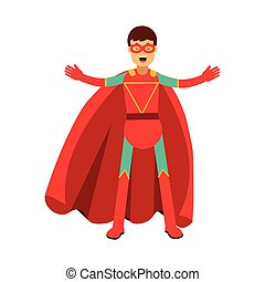 Young masked man in a red superhero costume vector Illustration