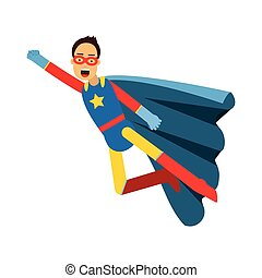 Young masked man in a superhero costume and blue cape flying vector Illustration